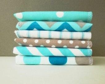Womens Handkerchief Set - Ladies Hankerchief -Gift for Mom -Reusable Tissues Flannel Handkerchief -Chevron Geometry Blues - Mothers Day Gift
