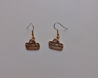 Picnic Basket Earrings gold charms USA-made lead-free choice of wires