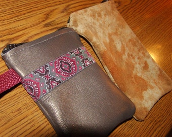 2 Genuine LEATHER Zip Coin Purse/Wallets
