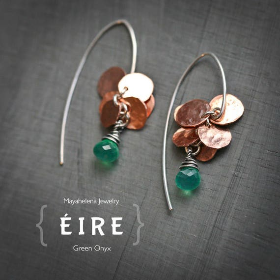 Eire - Copper Coins and Green Onyx Dangle Earrings