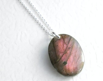 Pink Labradorite Necklace, Unusual Pendant, Natural Stone Jewelry, Rainbow Gemstone