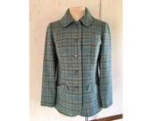 SALE VTG Pendleton Blue & Yellow Plaid Jacket COAT Pure Virgin Wool