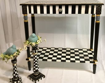 Whimsical Painted Furniture, Painted Console Table, Whimsical Painted Table, Black and white checkered Table
