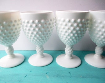 Vintage Fenton Milk Glass Hobnail Water Goblets Set of Four - Classic Chic