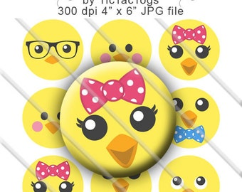 SALE -Cute Easter Chick Face Bottle Cap Images Digital 1 Inch Circle Hair Bow Digi 4x6 - Instant Download - BC589