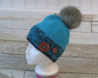 Crocheted Slouch Toddler or Child size Hat with Faux Fur Pom Poms - Button accents - 3 to 7 year old - Ready To Ship - Pom Poms - Crocheted