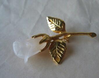 Rose Flower Gold Brooch Clear Vintage Pin