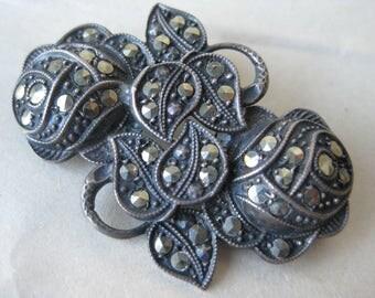 Rose Flower Marcasite Sterling Brooch Silver Vintage Pin 925