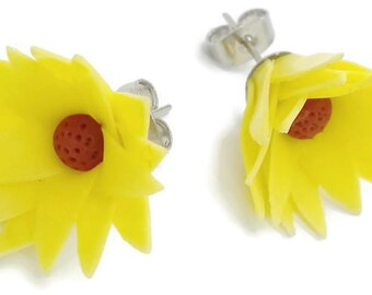 Polymer Clay Jewelry Miniature Sunflowers Earring Gift Giving for Her