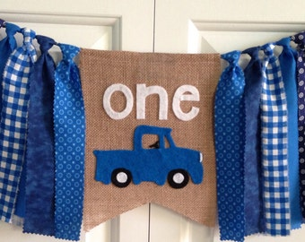 Little Blue Truck theme High chair banner ~photo prop ~1st Birthday ~cake smash ~birthday banner ~rag tie garland~party decor