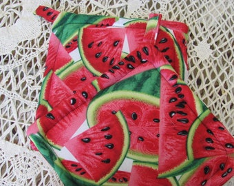 Pair Watermellon Fabric Pot Holders / Trivets Set of Two Pot Holders, 4th of JUly...