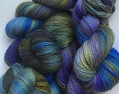 Purple, Olive and Blue Hand Dyed 10ply Aran Weight Merino Wool