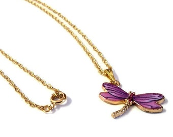 """WINTER SALE 18"""" Chain 14k Gold Plated Dainty Necklace with Gold and Purple Dragonfly Pendant, Gift for Her, Dragonfly Lover Gift"""