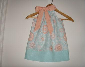 pillowcase dress SALE 10% off code is tiljan  Aqua coral  pillowcase dress sizes 3,6,9,12,18 months , 2t, 3t, 4t, 5t, 6, 7, 8,9, 10, 12.14