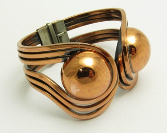 Vintage Clamper Bracelet Copper Cuff Square Wire Orb Jewelry B7594