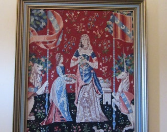 Reduced..Wonderful hand stitched Lady and the Unicorn framed needlepoint- vivid colors, ready to hang