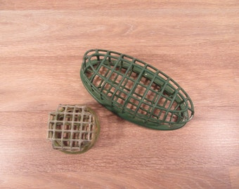 Two Flower arranging frogs- green metal, one large and one smaller, fine vintage condition, functional, solid