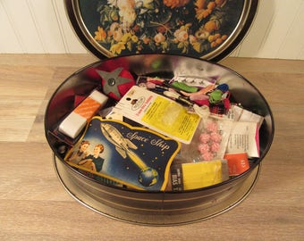 Beautiful large floral tin filled with vintage sewing supplies- anything you need for sewing projects, sewing notions