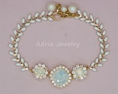 White Opal Bracelet, Gold Bridal Bracelet, White Opal Bridesmaid Jewelry, Swarovski Wedding Jewelry for Brides, White Opal Bridal Jewellery