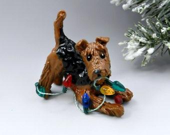 Airedale Terrier Christmas Ornament Figurine Lights Porcelain