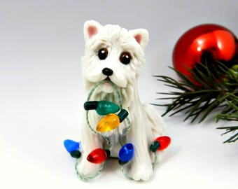 Samoyed Dog Christmas Ornament Figurine Porcelain Clay Lights