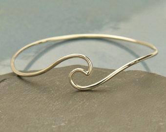 Sterling Silver Wave Bangle Bracelet - Solid 925 - Insurance Included