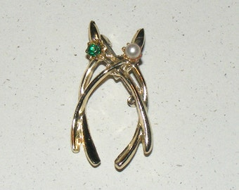 Vintage Double Wishbone Green Rhinestone and Pearl Costume Jewelry Pin Brooch