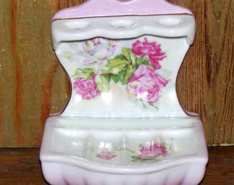 Vintage Pink and White Roses Bisque China Soap Dish and Toothbrush Holder