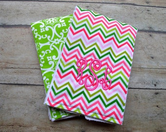 Monogrammed Burp Cloth, Baby Gift Set of 2, Personalized Burp Cloth, Pink and Green Burp Cloth, Preppy Burp Cloth