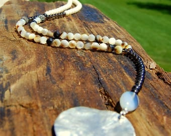 Mother of Pearl, Smokey Quartz & Sterling Disk Y Necklace