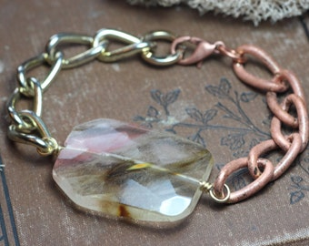Chunky Chain Bracelet Quartz Glass Bead Luxe Rustic Copper Gold