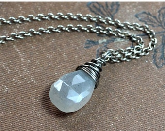 Sale Gray Moonstone Necklace Rustic Wire Wrapped Faceted Briolette Pendant Sterling Silver Necklace Luxe Rustic