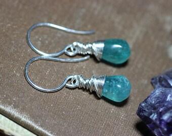 Apatite Earrings Aqua Blue Gemstone Earrings Sterling Silver Wire Wrapped Briolette Earrings Luxe Rustic Jewelry