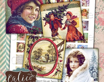 Victorian Holiday, Printable Ephemera, Collage Sheet, 1x1 Inch Squares, Christmas Printable, Printable Images, Digital Download
