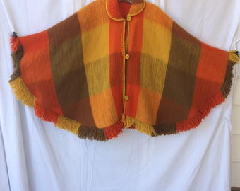 1970's Wool Multicolor Poncho
