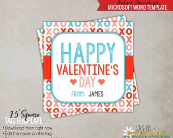 Printable Valentine's Day XOXO Card Tag Template, Happy Valentine Bag Tag - Instant Download