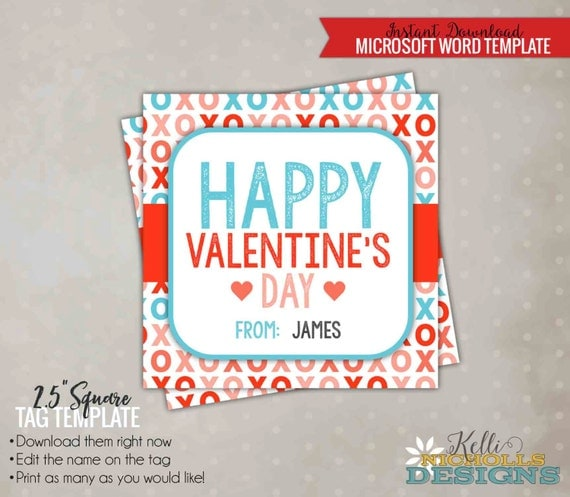 Printable ValentineS Day Xoxo Card Tag Template Happy Valentine