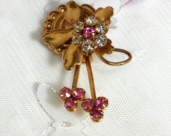 Vintage Flower Pin with Pink Rhinestones