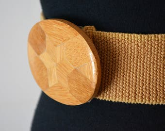 1980s NOS Charmant Deadstock Elastic Stretch Belt Woven Jute Cotton Camel Safari Wood Inlay Star Buckle.  Natural  26 through 29