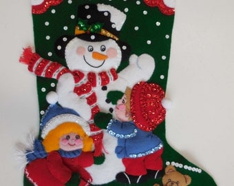 Finished Christmas Stocking - Snowman and Children