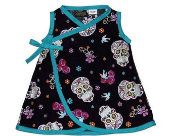 ON SALE 35% OFF Sugar Skull - Tattoo Baby - Skull Clothes - Girls Dress - Punk Rock Baby - Day of the Dead - Swallow - Baby Dress - Nb - 6m