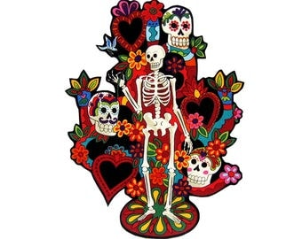 Tree of Life - Patches - TShirts - Mexican Folk Art - Iron On Patch - Day of the Dead - Tote Bag - Large - Pillow - Senor - Tattoo - Skull