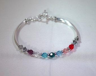 Swarovski Crystal Jewelry -  Mothers or Grandmothers Bracelet - Single-Strand - 5 to 9 Birthstones