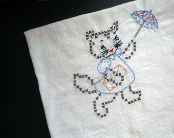 Vintage Embroidered Kitty Dish Towel Large White Cotton Kitchen Towel Cute Anthropomorphic Cat Kitten with Parasol Light Weight 27 X 27