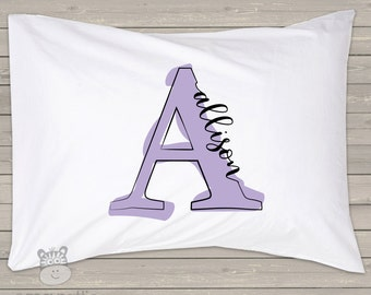 Monogrammed painted letter personalized pillowcase / pillow - custom monogram pillowcase great birthday gift PIL-041-STD