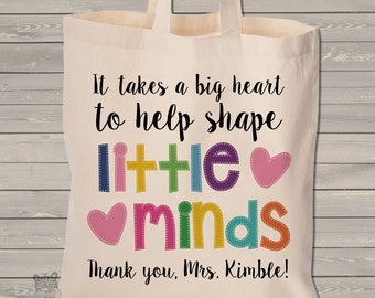 teacher tote bag - adorable teacher tote for kindergarten, first grade - teacher gift takes a big heart to help shape little minds MSCL-028
