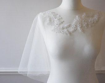Ivory lace applique embellished tulle bridal wedding cape shrug bolero ALNWICK