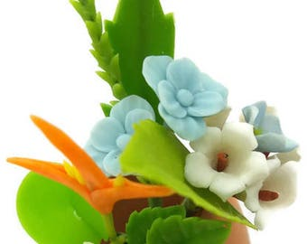 Miniature Polymer Clay Flowers Handmade Supply Tropical and Wild Flowers 1 piece
