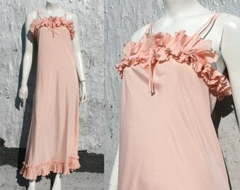 Vintage Zandra Rhodes Silk Peach Pink Evening Dress / '70s Glam Pleated Grecian Maxi Gown / Bridesmaid Bridal / Vintage Designer Size XS S M