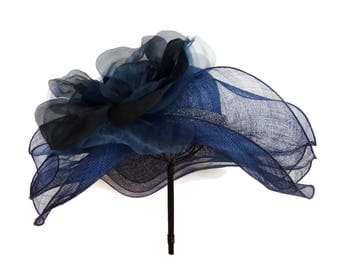 "Kentucky Derby Hat, Spring Fashion Easter Hat, Wedding Guest Hat, Garden and Tea Party Hat in Navy Blue with Rhinestones - ""Across the Pond"""